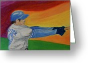 Bat Pastels Greeting Cards - Home Run Swing Baseball Batter Greeting Card by First Star Art