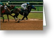 Churchill Downs Greeting Cards - Home Stretch Greeting Card by Lone  Dakota Photography