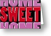 Needlepoint Greeting Cards - Home Sweet Home 2 Greeting Card by Andrew Fare