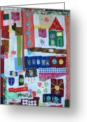 Home Tapestries - Textiles Greeting Cards - Home Where the Heart Is Greeting Card by Lorna Diwata Fernandez