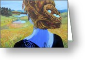 Hairdo Greeting Cards - Home with Nest in Hair Greeting Card by Tilly Strauss