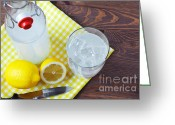 Summertime Drink Greeting Cards - Homemade traditional lemonade. Greeting Card by Richard Thomas