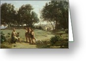 Listening Greeting Cards - Homer and the Shepherds in a Landscape Greeting Card by Jean Baptiste Camille Corot