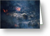 Pacific Coast States Greeting Cards - Homes Burning In A Lake Arrowhead Greeting Card by Mark Thiessen