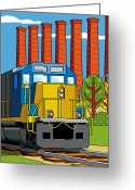 Railroad Tracks Greeting Cards - Homestead Stacks Greeting Card by Ron Magnes