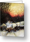 Sunset Drawings Greeting Cards - Homeward bound Greeting Card by Andrew Read
