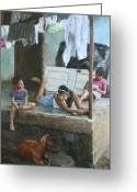 Central Painting Greeting Cards - Homework on the Porch House of Hope Nicaragua Greeting Card by Anna Bain