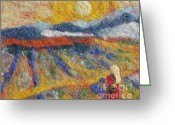 Girl Tapestries - Textiles Greeting Cards - Hommage to Van Gogh Greeting Card by Nicole Besack