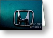Transportation Greeting Cards - Honda Civic Hood Badge - IMG4514 Greeting Card by Wingsdomain Art and Photography