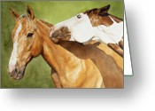 Equines Painting Greeting Cards - Honey and Waffles  Greeting Card by Simona Tarakeviciute