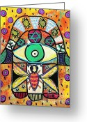 Reception Painting Greeting Cards - Honey Bee Hamsa Greeting Card by Sandra Silberzweig