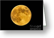 Lunar Greeting Cards - Honey Moon Close Up Greeting Card by Al Powell Photography USA