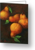Oil Painting Greeting Cards - Honey Pears Greeting Card by Enzie Shahmiri