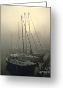 Atmospheric Greeting Cards - Honfleur Harbour in fog. Calvados. Normandy Greeting Card by Bernard Jaubert