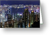 Illuminated Greeting Cards - Hong Kong At Night Greeting Card by Leung Cho Pan