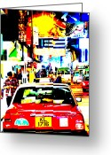 Taxi Cab Greeting Cards - Hong Kong cabs Greeting Card by Funkpix Photo  Hunter