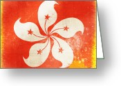 Chalk Pastels Greeting Cards - Hong Kong China flag Greeting Card by Setsiri Silapasuwanchai