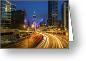 Hong Kong Greeting Cards - Hong Kong City Center At Night Greeting Card by Coolbiere Photograph