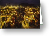 Structures Greeting Cards - Hong Kong Container Terminal, One Greeting Card by Justin Guariglia