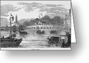 1842 Greeting Cards - Hong Kong: Harbor, 1842 Greeting Card by Granger