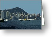 Architectur Greeting Cards - Hong Kong Island ... Greeting Card by Juergen Weiss