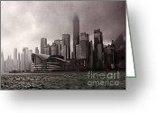 Landscape Posters Greeting Cards - Hong Kong rain 5 Greeting Card by Tom Prendergast