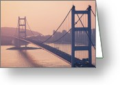 Hong Kong Greeting Cards - Hong Kong Tsing Ma Bridge At Sunset Greeting Card by Yiu Yu Hoi