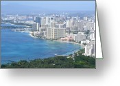Diamond Head Greeting Cards - Honolulu and Waikiki from Diamond Head Greeting Card by Mary Deal