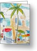 Oceania Greeting Cards - Honolulu Harbor Mall Greeting Card by Pat Katz