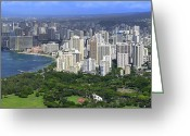 Waikiki Beach Greeting Cards - HONOLULU HAWAII and WAIKIKI BEACH Greeting Card by Daniel Hagerman