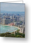 Waikiki Beach Greeting Cards - Honolulu Hawaii  Greeting Card by Carol  Eliassen