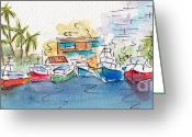 South Seas Greeting Cards - Honolulu Marina Greeting Card by Pat Katz