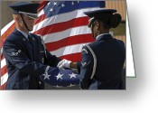 American Airmen Greeting Cards - Honor Guard Members Fold The American Greeting Card by Stocktrek Images