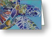Marine Painting Greeting Cards - Honu Greeting Card by Marionette Taboniar