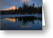 Sunset Greeting Cards - Hood Alpenglow Greeting Card by Mike  Dawson