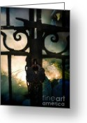 Chained Greeting Cards - Hooded Figure by a Fire Greeting Card by Jill Battaglia