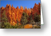 Yellow And Red Greeting Cards - Hoodoos Along the Trail Greeting Card by Robert Bales