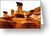 Drumheller Greeting Cards - Hoodoos Greeting Card by Ramona Johnston