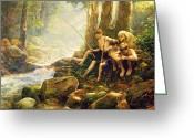 Yellow Line Greeting Cards - Hook Line and Summer Greeting Card by Greg Olsen