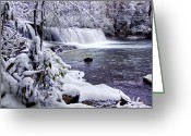 Snow Prints Greeting Cards - Hooker Falls in Winter Greeting Card by Rob Travis