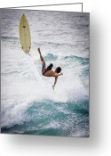Surf Lifestyle Greeting Cards - Hookipa Maui Flying Surfer Greeting Card by Denis Dore