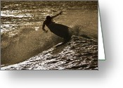 Surf Lifestyle Greeting Cards - Hookipa Maui Surfer at Sunset Greeting Card by Denis Dore