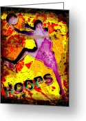 Basketball Greeting Cards - Hoops Basketball Player Abstract Greeting Card by David G Paul