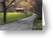 Asphalt Digital Art Greeting Cards - Hoosier Autumn - D007843a Greeting Card by Daniel Dempster