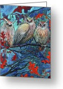 Oak Pastels Greeting Cards - Hoot and the Family Tree Greeting Card by Jane Wilcoxson