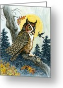 Great Painting Greeting Cards - Hooty Hoot Greeting Card by Richard De Wolfe