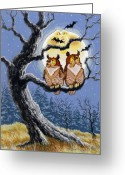 Spooky Moon Greeting Cards - Hooty Whos There Greeting Card by Richard De Wolfe