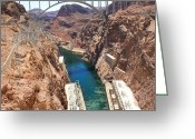 Red Rocks Greeting Cards - Hoover Dam Bridge Greeting Card by Mike McGlothlen