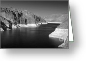 White River Scene Greeting Cards - Hoover Dam Reservoir - Architecture on a grand scale Greeting Card by Christine Till