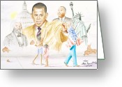 Barack Drawings Greeting Cards - Hope                                                  Greeting Card by Sandra Pryer